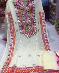 Details :- semi stitched jarjet shirt with gotta patti work , pure shufon dupptta and shantoon salwar price :- Pakistani Dresses Casual, Pakistani Bridal Dresses, Pakistani Dress Design, Shadi Dresses, Casual Dresses, Indian Gowns, Indian Wear, Indian Designer Outfits, Indian Outfits
