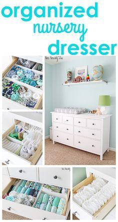 GREAT tips and tricks for an organized nursery dresser! http://twotwentyone.net/nursery-dresser-organization/