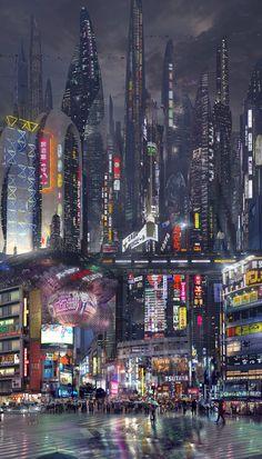 Ideas For Futuristic Concept Art Sci Fi Cyberpunk City Cyberpunk City, Ville Cyberpunk, Cyberpunk Kunst, Cyberpunk Aesthetic, Futuristic City, City Aesthetic, Futuristic Architecture, Futuristic Technology, Cyberpunk Fashion