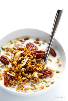Pumpkin Spice Granola Recipe -- easy to make, sweetened with maple syrup, and wonderfully delicious   gimmesomeoven.com