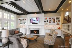 Cabinetry creates a focal point around this Great Room's fireplace. #housetrends http://www.renovationsunlimited.com