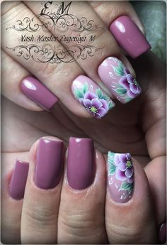 One stroke flower nail art design. Uñas One Stroke, One Stroke Nails, Finger Nail Art, Toe Nail Art, Nails & Co, Swag Nails, Fancy Nails, Pretty Nails, Pretty Nail Designs