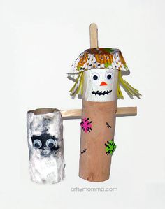 Recycled Paper Towel Tube Scarecrow and Mummy Crafts