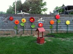 Our hubcap flowers!!!!