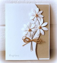 handmade card … clean and simple … die cut daisies go over the curved front edge … like the kraft and white with pearls and twine … beautiful! Handmade Birthday Cards, Greeting Cards Handmade, Ideas For Birthday Cards, Simple Handmade Cards, Handmade Anniversary Cards, Flower Birthday Cards, Simple Birthday Cards, Beautiful Handmade Cards, Christmas Greeting Cards
