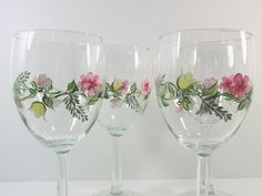 Hand Painted Wine Glasses Flowers | Add it to your favorites to revisit it later.