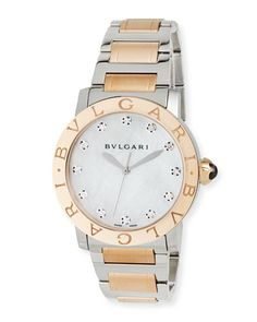 37mm BVLGARI BVLGARI Watch with Diamonds by BVLGARI at Neiman Marcus.