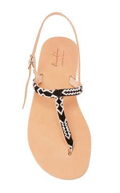 Jessica Leather & Cotton Sandal by ELINA LEBESSI for Preorder on Moda Operandi