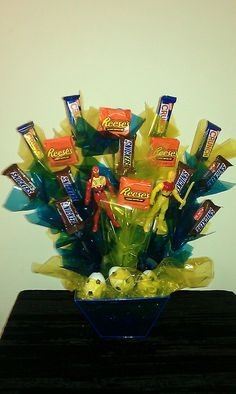 Reeses, Snickers, and Nestle Crunch Candy Bouquet