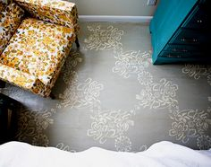 Lace inspired floor stenciling