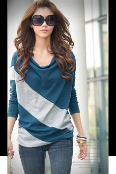 Exquisite Boat Neck Color Match Comfortable Long Sleeve T-Shirt For Women, BLUE, FREE SIZE in Tees & T-Shirts | DressLily.com
