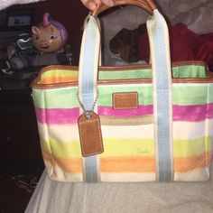 Water color canvas coach bag Perfect spring bag! Water color canvas design. Medium / large has a zipper to close Bags Totes