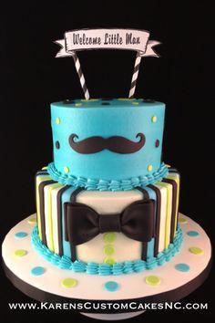 """Little Man themed baby shower cake. 8""""+6"""" buttercream cake w fondant decor."""