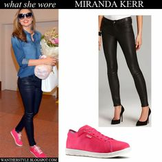 Miranda Kerr in blue denim shirt, black leather pants Genetic Denim and pink Reebok sneakers
