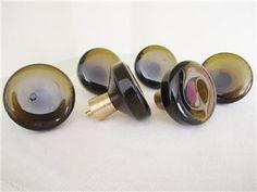 Glass knobs, brass details, Bröderna Miller, Bankeryd Glass Knobs, Nespresso, Coffee Maker, Cufflinks, Kitchen Appliances, Brass, Retro, Accessories, Auction