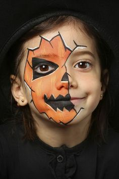 Halloween make-up kids - 13 scary awesome and simple .- Halloween Schminkideen Kinder – 13 unheimlich tolle und einfache Ideen Halloween make-up kids – 13 awesome great and simple ideas – pumpkin lantern – face painting - Deer Face Paint, Mermaid Face Paint, Pumpkin Face Paint, Pumpkin Painting, Halloween Face Paint Scary, Halloween Makeup For Kids, Halloween Makeup Looks, Family Halloween, Halloween Halloween
