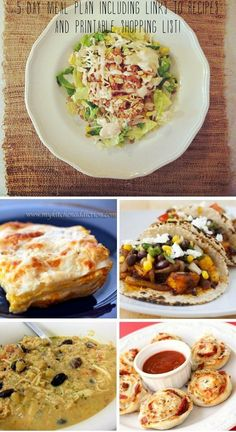 5 day meal plan with links to recipes and a printable shopping list!