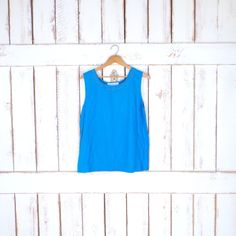 90s vintage light blue silk shell tank/embroidered tank top/sleeveless top by GreenCnynMercantile on Etsy