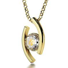 Virgo Sign, 14k Gold Necklace, Swarovski