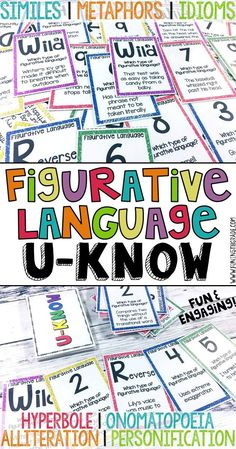 Figurative language game to help review similes, metaphors, personification, hyperbole, alliteration, idioms, and onomatopoeia!  Fun and engaging way to practice figurative language in small groups.  Perfect for grades 4-6.