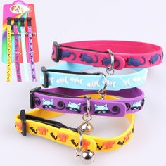 Adjustable Silica gel Cat dog Collars Puppy Ring Bell Collars Durable Pet Kitten Safety Control Collar Puppy Leash Products PG42