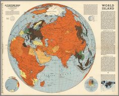 """The World Island, """"Who controls the World Island commands the World"""" made by Richard Harrison in 1943"""