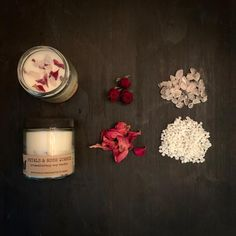 LOVE, JOY & HEALING  gemstone - rose quartz floral - wild-crafted rose petals essential oils - cedarwood, black pepper, sweet orange, ylang ylang  Our floral and gemstone candles are individually handcrafted, making each one unique and special. Made with soy wax, wild-crafted, dried flowers/herbs, healing gemstones and essential oils.   #soycandle #candle #essentialoil #aromatherapy #forthehome #homedecor #naturalproduct Paraffin Candles, Soy Candles, Candle Jars, Thing 1, Aromatherapy Candles, Glass Containers, Burning Candle, Wax Melts, Rose Petals