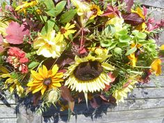 Sunflower double ended spray. Natural autumn floral tribute Hereford British Flowers, Flowers Delivered, Hereford, Funeral Flowers, Unique Flowers, Naturally Beautiful, Floral Wreath, Delicate, Wreaths