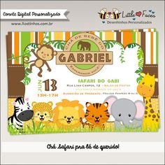 Safari Jungle Animals Baby Shower Theme Printable DIY Invitation- Safari Jungle Animals Personalized Invite card DIY party printables will save you time and money while making your planning a snap! Safari Birthday Party, Jungle Party, Animal Birthday, Birthday Ideas, Baby Shower Printables, Party Printables, Safari Theme, Jungle Theme, Jungle Animals