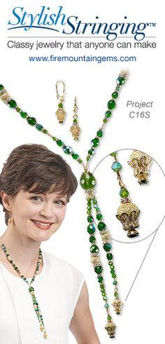 Stylish Stringing -- Free Jewelry-Making Project! Tassel necklace and earring design by international designer-artist Gulten Dye. Jewelry set using Glass Beads, Swarovski Crystal and Stardust Beads. #DIYjewelry #Jewelry #JewelryProject C16S