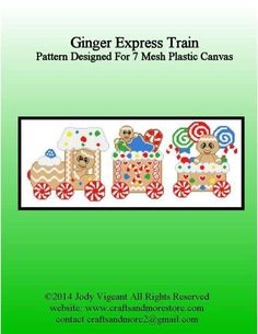 Ginger Express Train 1/4 Plastic Canvas Books, Plastic Canvas Tissue Boxes, Plastic Canvas Crafts, Plastic Canvas Patterns, Holiday Train, Christmas Train, Christmas Crafts, Cross Stitching, Cross Stitch Embroidery