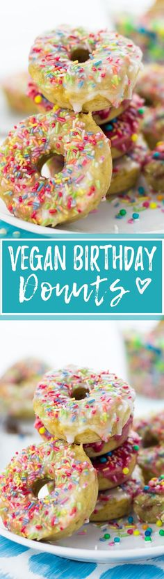 Celebrate your next birthday with these soft, fluffy baked birthday donuts with rainbow sprinkles, vanilla, and cherry frosting! Vegan donuts at their best! <3 | veganheaven.org