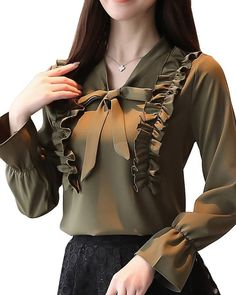Buy Women's Plus Size Blouse Solid Color V Neck Bow Long Flare Sleeve Ruching Patchwork Top & Blouses - at Jolly Chic Sleeves Designs For Dresses, Dress Neck Designs, Stylish Dress Designs, Kurta Designs, Blouse Designs, Fashion Wear, Fashion Outfits, Cheap Dresses Online, Vetement Fashion