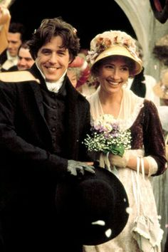 "Hugh Grant as Edward Ferrars and Emma Thompson as Elinor,Dashwood in the 1995 film version of Jane Austen's "" Sense & Sensibility. Emma Thompson, Kate Winslet, Jane Austen Movies, Wedding Movies, Wedding Quotes, Hugh Grant, Bon Film, Ang Lee, Cinema"