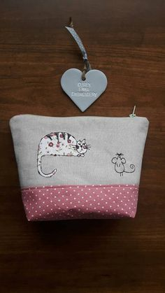 Cat and mouse applique make up bag using machine free- motion embroidery, Toiletry bag, Zip-Pouch, wash bag, cosmetic case GBP11.00