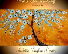 "XLarge Aqua Blossom Tree Oil Landscape Abstract Original 48"" palette knife oil impasto oil painting by Nicolette Vaughan Horner"