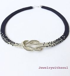 Black and silver love knot necklace,beadwoven ombre necklace, gift for her, infinity knot seed bead necklace, sed bead rope jewelry