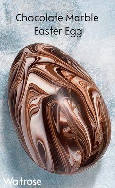 An indulgent dark chocolate Easter egg, individual Easter Egg Cake, Easter Cupcakes, Easter Candy, Easter Cookies, Easter Treats, Easter Table, Dark Chocolate Easter Eggs, Marble Chocolate, White Chocolate