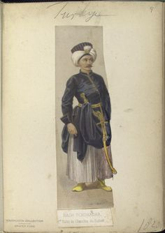 1st Valet of the chamber of the Sultan. Bach- Tchohadar. The Vinkhuijzen collection of military uniforms / Turkey, 1818. See McLean's Turkish Army of 1810-1817.