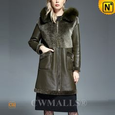 CWMALLS® Women's Sheepskin Parka Coat with Fox Fur Trim CW607026 www.cwmalls.com CUSTOM women sheepskin parka in CWMALLS Store, it is crafted from merino sheepskin with fox fur trimmed hood, featuring exposed shearling at chest, back, sleeve cuffs and hem, very warm and fashion winter coat for women. Email: sales@cwmalls.com
