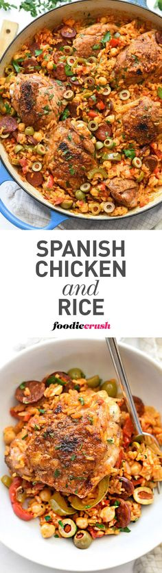 Chicken thighs are nestled in Spanish-flavored rice with Spanish ...