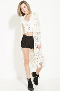 Fringed Crochet Cardigan