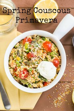 Spring Couscous Primavera with Whipped Lemon Ricotta. A Light, Healthy & Delicious Spin on a Classic.