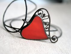 Red heart pendant valentines gift heart necklace by ArtKvarta, $19.00