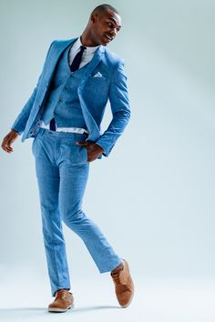 Love the modern take of this blue linen suit -- men's suit, menswear style