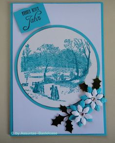 Tolle Weihnachtskarte,  nostalgisches Winterdorf,  gestempelt