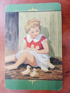 Vintage Coles Swap Card Girl and Ducklings