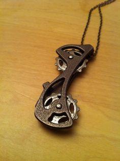 3D metal printed bike derailleur pendant via Shapeways. Just a prototype now, soon in production on Gothamsmith.