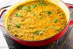 Golden Yellow Lentil Dal with Curry - Girl and the Kitchen This easy and delicious yellow lentil dal is full of protein and bright flavors! Great served over fragrant Basmati rice for a quick and healthy mid-week meal! Lentil Recipes, Veggie Recipes, Indian Food Recipes, Asian Recipes, Vegetarian Recipes, Cooking Recipes, Healthy Recipes, Indian Dal Recipe, Gourmet Cooking