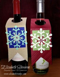 Snowflake Wine Tags #Stampin' Up! www.elizabethstamps.com for detailed dimensions and directions